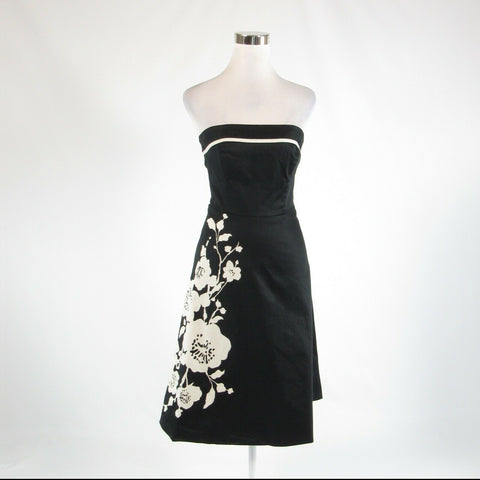 Black ivory floral print cotton blend WHITE HOUSE BLACK MARKET A-line dress 4