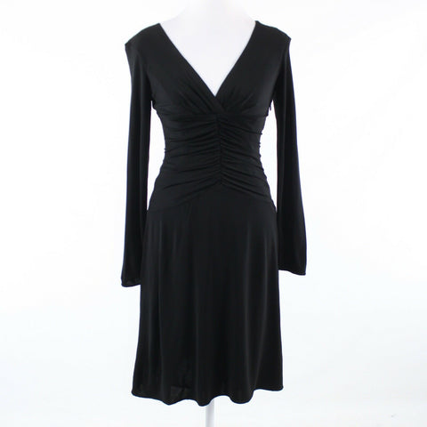 Black stretch KAY UNGER long sleeve A-line dress 2