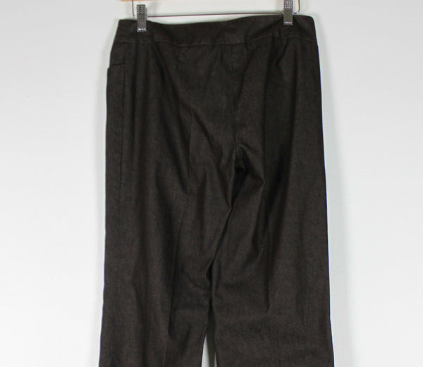 KENNETH COLE dark brown cotton blend stretch flat front flare dress pants 6-Newish