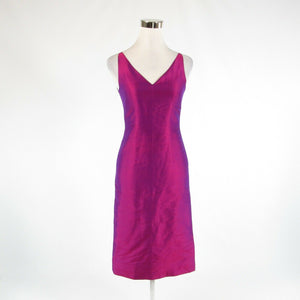 Purple pink iridescent 100% hand-tied Thai silk VANDA sleeveless sheath dress XS