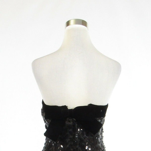 Black gray VICTOR COSTA FOR BERGDORF GOODMAN sequin strapless sheath dress S-Newish
