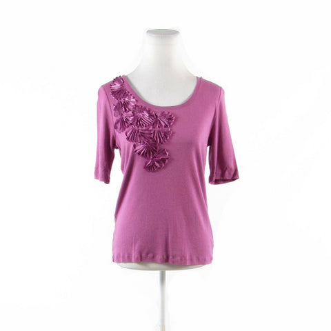 Mauve purple cotton TALBOTS ribbon applique stretch 1/2 sleeve knit blouse M