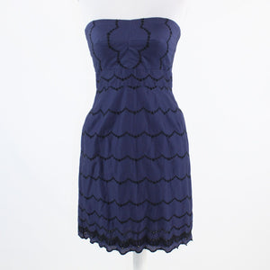 Navy blue black geometric eyelet J. CREW strapless sheath dress 4