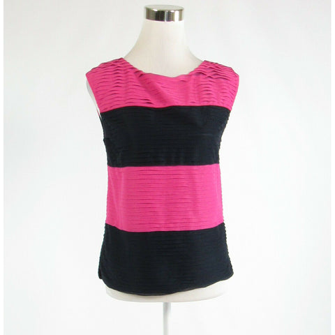 Black pink color block ANN TAYLOR stretch sleeveless blouse PS