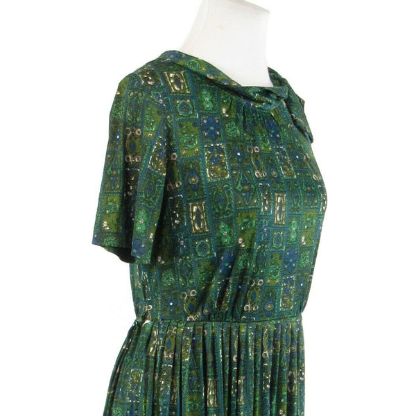 Teal green blue geometric short sleeve vintage A-line dress S-Newish