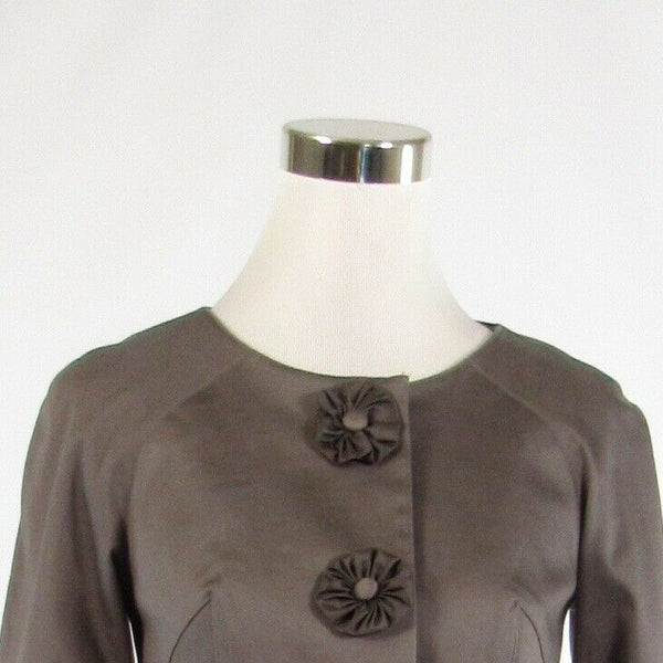 Taupe cotton blend BARASCHI 3/4 sleeve bolero jacket 2-Newish