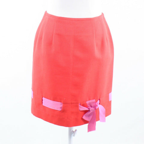 Light red STEVEN STOLMAN ribbon trim pencil skirt 6-Newish