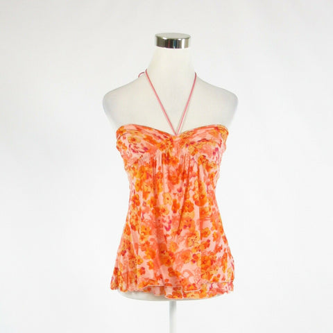 Orange floral print BANANA REPUBLIC stretch halter neck cami blouse S-Newish