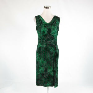 Black green geometric DAVID LAWRENCE stretch sleeveless A-line dress S-Newish