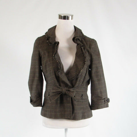 Beige brown plaid 100% cotton ANN TAYLOR LOFT 3/4 sleeve blazer jacket 12P