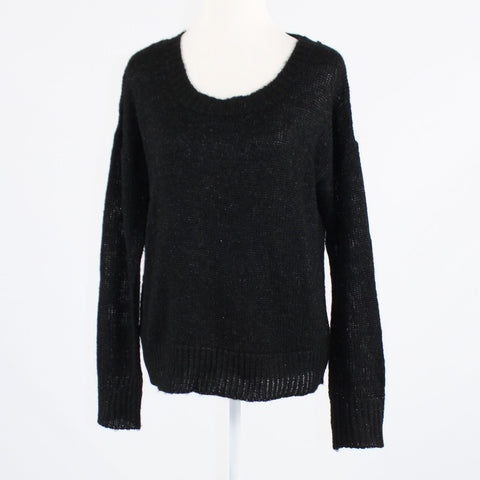 Black shimmery EVA FRANCO long sleeve crewneck sweater L
