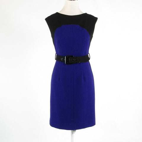 Purple black color block MILLY stretch sleeveless sheath dress 2