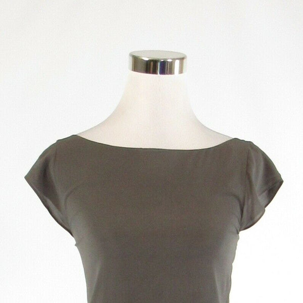 Gray black silk blend ALICE and OLIVIA Base cap sleeve blouse XS