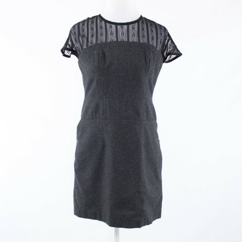Charcoal gray black ANTHROPOLOGIE TULLE cap sleeve sheath dress S