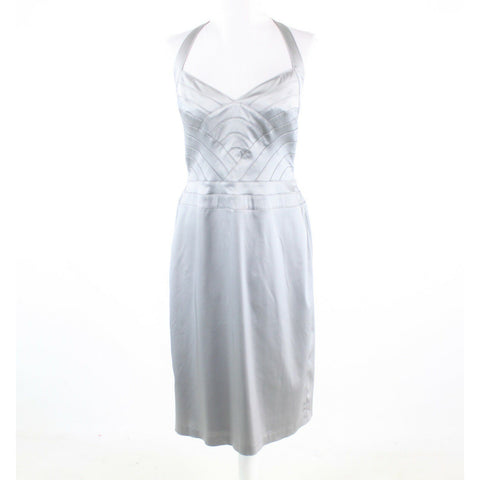 Light gray stretch ADRIANNA PAPELL Boutique halter neck sheath dress 12 NWT