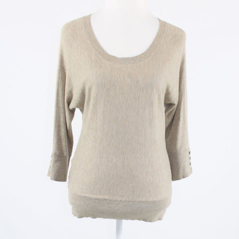 Beige cotton blend ANN TAYLOR LOFT 3/4 batwing sleeve scoop neck sweater PS