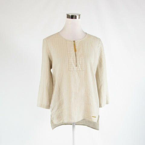 Beige white striped 100% linen ELLEN TRACY 3/4 sleeve tunic blouse S