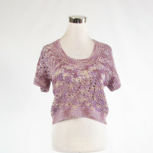 Light purple 100% alpaca AUGDEN NEW YORK short sleeve crochet knit sweater S