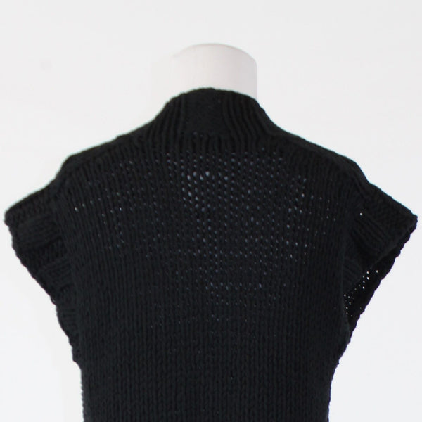 Black cotton blend KENNETH COLE NEW YORK cap sleeve multi-knit swing sweater S