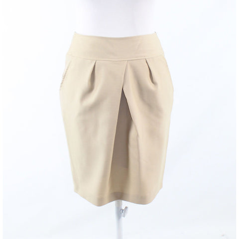 Khaki beige 100% wool BASTET pleated front pencil skirt IT38 4