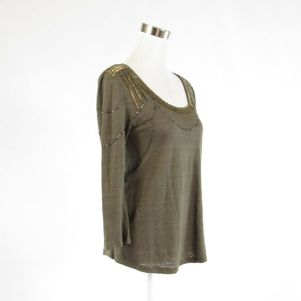 Olive green gold 100% linen SANDRO beaded trim stretch 3/4 sleeve knit blouse 1