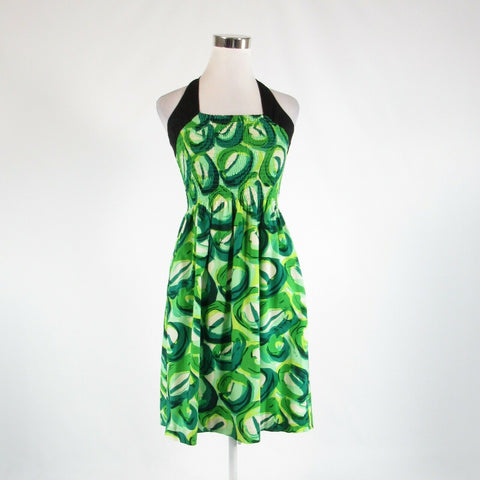 Green abstract 100% cotton ANTHROPOLOGIE VIOLA stretch halter neck sun dress 12-Newish