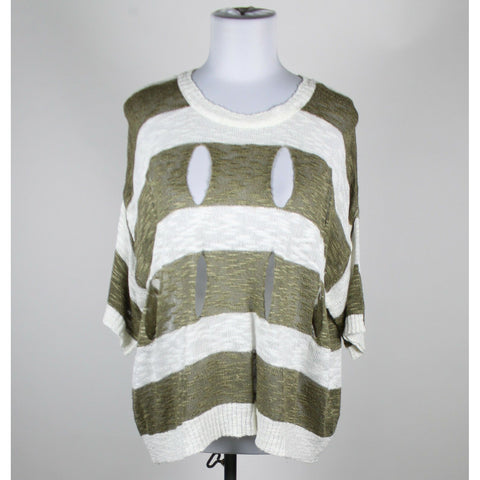BLUE BIRD ivory & brown striped cotton blend short sleeve hole sweater One Size-Newish