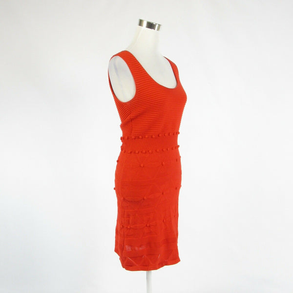 Bright orange 100% cotton MILLY stretch sleeveless sheath dress P-Newish