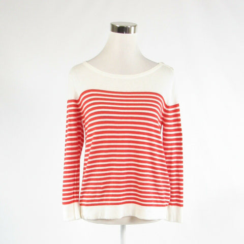 Dark orange white striped cotton blend FOSSIL long sleeve boat neck sweater S-Newish