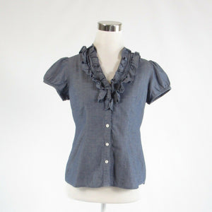Dark blue striped chambray ANN TAYLOR LOFT short sleeve button down blouse 0