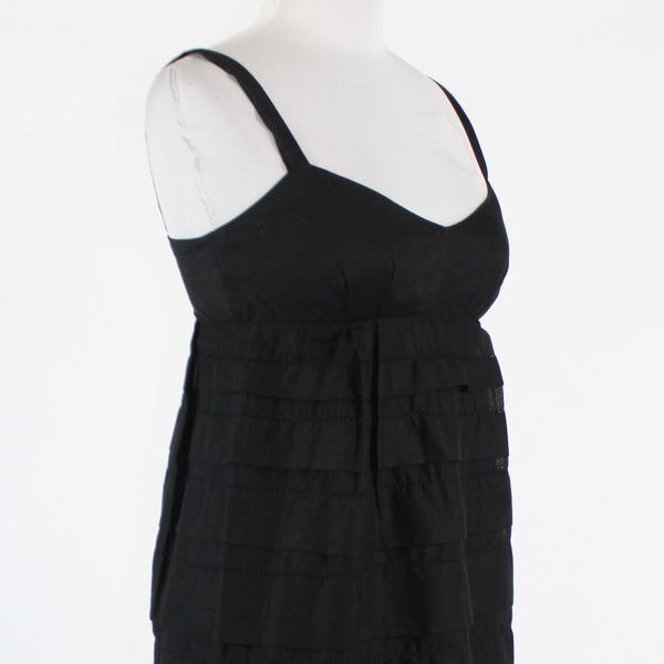 Black 100% cotton FRENCH CONNECTION tiered spaghetti strap above knee dress 2-Newish