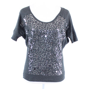 Charcoal gray stretch sequin front cotton EXPRESS short sleeve knit blouse XS