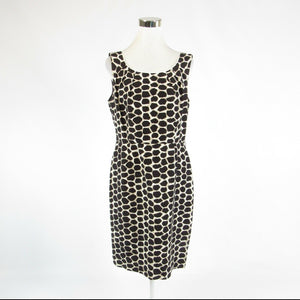 Dark brown white geometric silk blend ANTONIO MELANI sleeveless sheath dress 10-Newish