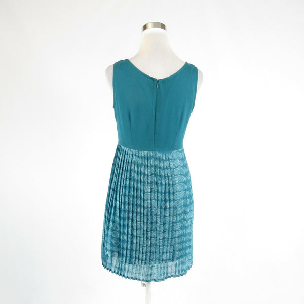 Teal green white swirls ANTHROPOLOGIE TULLE sleeveless A-line dress S-Newish