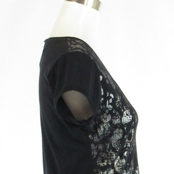 Black silver TAHARI stretch short sleeve blouse M-Newish