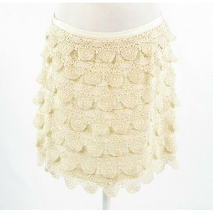 Light beige SABINE crochet tiered skirt L