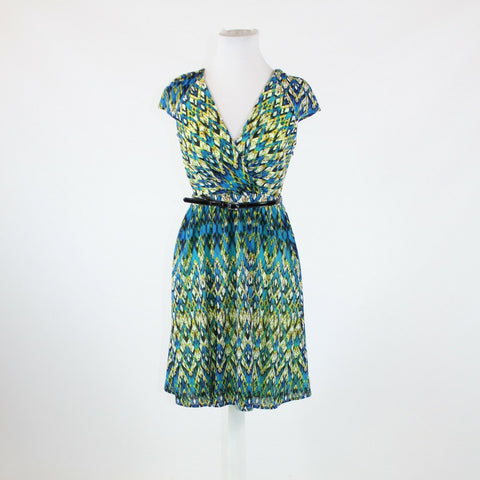 Blue yellow geometric MARC NEW YORK short sleeve belted waist A-line dress 4