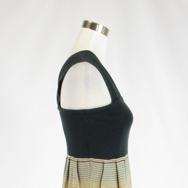 Black gold pinstripe cotton blend KNITTED AND KNOTTED sleeveless sheath dress S-Newish