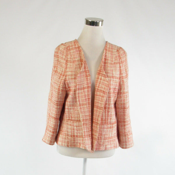 Ivory pink textured cotton blend TALBOTS open front long sleeve blazer jacket L-Newish