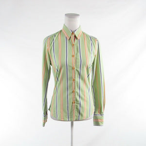 Light green orange uneven striped 100% cotton ROBERT GRAHAM button down blouse 4