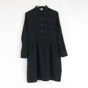 Dark blue brown plaid 100% cotton GAP A-line dress S
