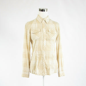 Beige white plaid 100% cotton BANANA REPUBLIC long sleeve button down blouse S-Newish