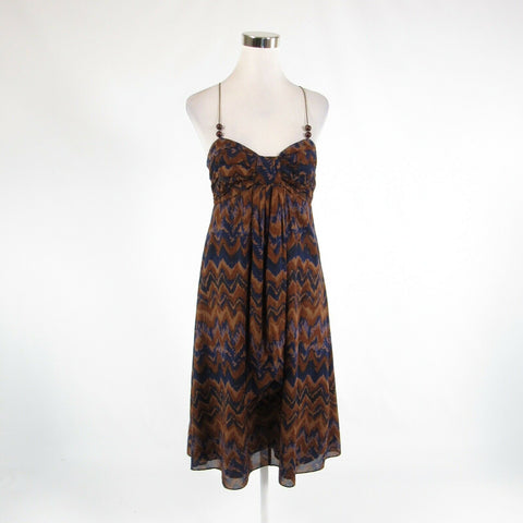 Brown blue chevron 100% cotton BANANA REPUBLIC spaghetti strap sun dress 8-Newish