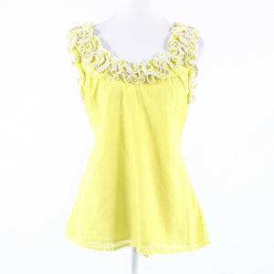 Light yellow cotton blend BARASCHI sleeveless tank top blouse M