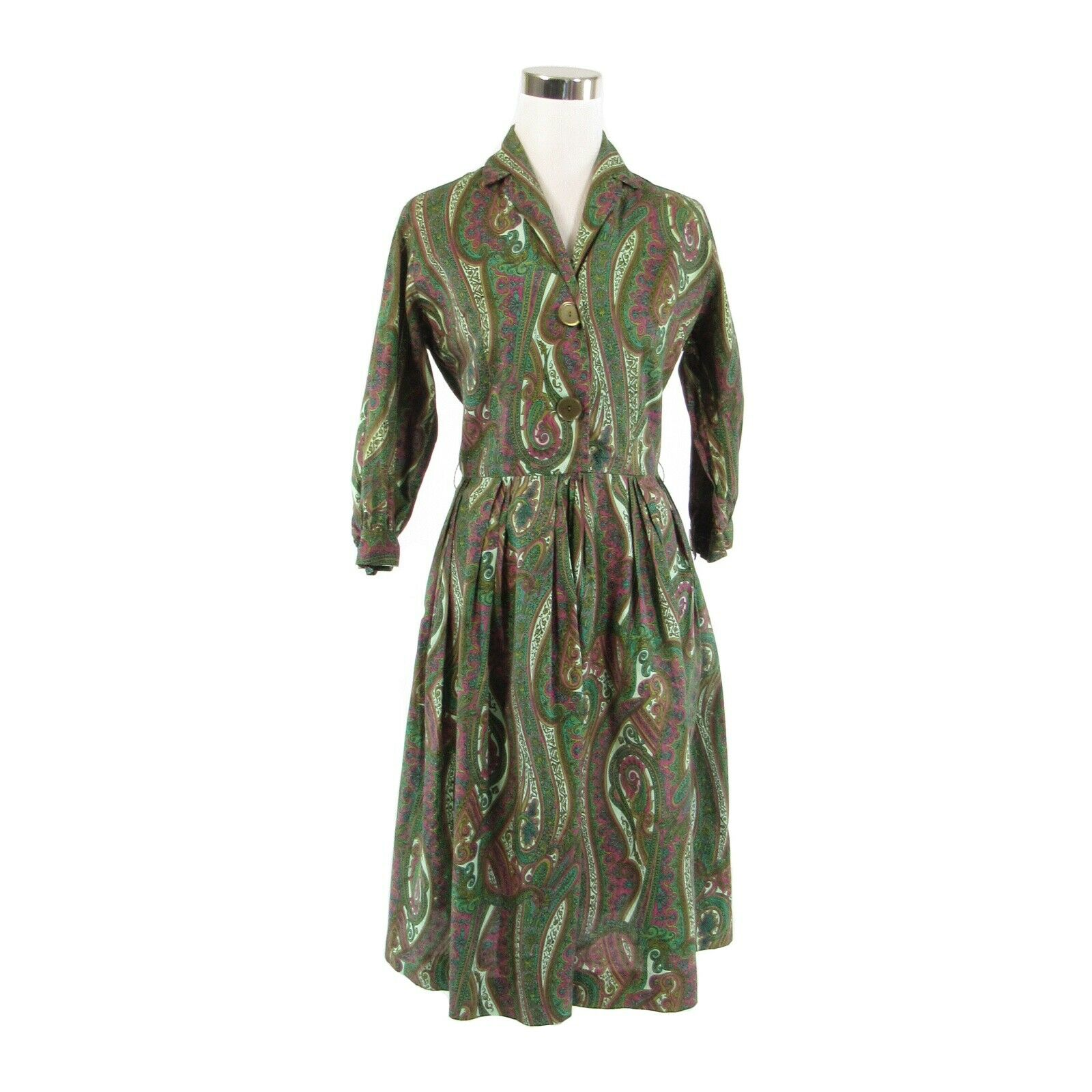 Green purple paisley 100% cotton KAY WINDSOR vintage A-line dress S-Newish