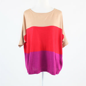 Beige fuschia pink red color block NEW YORK and COMPANY short batwing sweater L