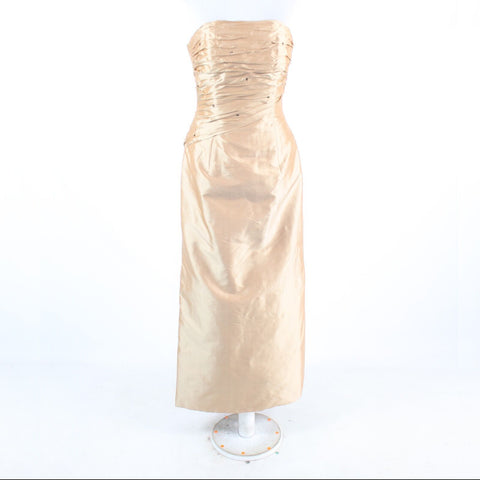 Metallic gold 100% Thai silk MARISA BARATELLI strapless ball gown dress 6