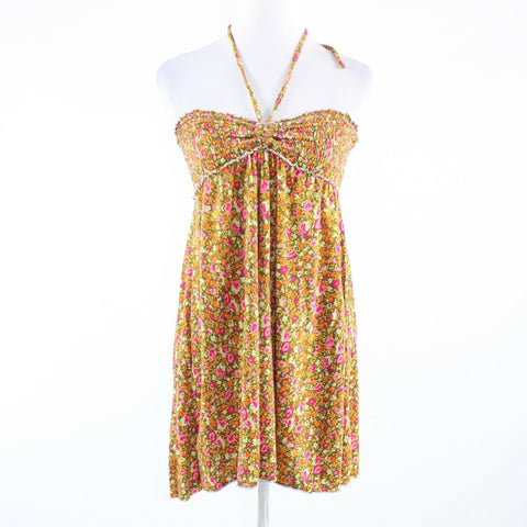 Goldenrod yellow pink floral print stretch FREE PEOPLE halter neck blouse M-Newish