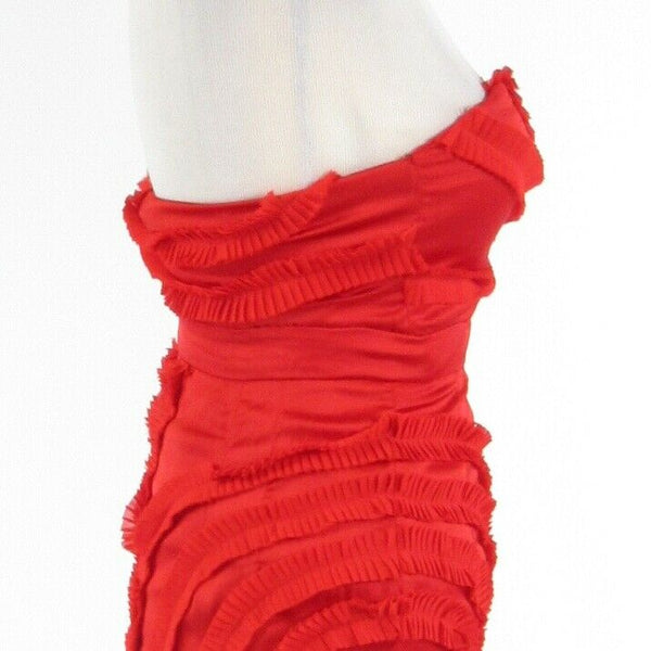 Red satin MINUET sleeveless empire waist dress S-Newish