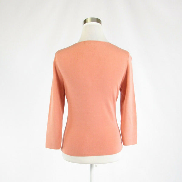 Peach silk blend CARLISLE 3/4 sleeve V-neck sweater S-Newish
